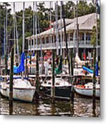 Fairhope Yacht Club Sailboat Masts Metal Print