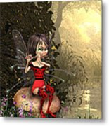 Forest Fairy Playing The Flute Metal Print
