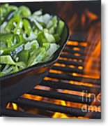 Fajita Cast Iron Skillet With Green Peppers Sizzling Hot Metal Print