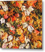 Fall Autumn Leaves On Water Metal Print