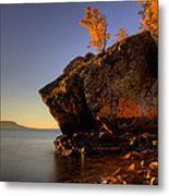 Fall Colours In The Squaw Bay Fallen Rock Metal Print