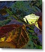 Fall Leaves Abstraction Metal Print
