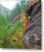 Fall Peeks From Behind The Rocks Metal Print by Heather Kirk