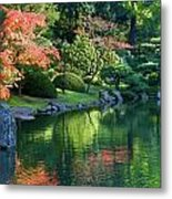 Fall Reflections Japanese Gardens Metal Print