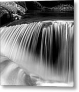 Falling Water Black And White Metal Print