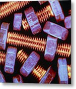 False-coloured Photograph Of Nuts And Bolts Metal Print