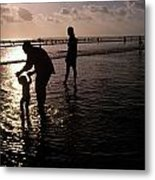 Families Play In A Shallow Lagoon Metal Print