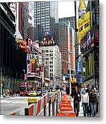 Amidst Color And Construction In Times Square Metal Print