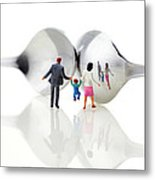 Family In Front Of Spoon Distoring Mirrors II Metal Print