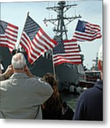 Family Members Wave Flags To Show Metal Print