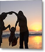 Family Portrait On The Beach At Sunset Metal Print