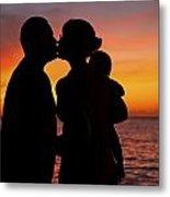 Family Silhouettes At Sunset Metal Print