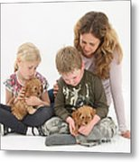 Family With Cockerpoo Pups Metal Print