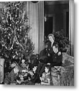 Family With Two Children (6-9) Sitting At Christmas Tree, (b&w) Metal Print