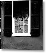 Famous New Orleans Po Boys Neon Window Sign Black And White Conte Crayon Digital Art Metal Print