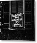 Famous New Orleans Po Boys Neon Window Sign Black And White Glowing Edges Digital Art Metal Print