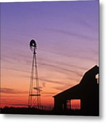 Farm At Sunset Metal Print by David Davis and Photo Researchers