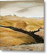 Farm On Hill - Tuscany Metal Print