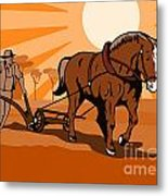 Farmer And Horse Plowing Farm Retro Metal Print by Aloysius Patrimonio