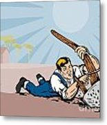 Farmer Dragged Plow Plowing Farm Retro Metal Print by Aloysius Patrimonio