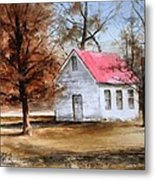 Farmers Ridge School Metal Print by Don Cull