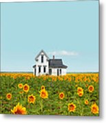 Farmhouse In A Field Of Sunflowers Metal Print