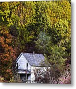 Farmhouse In Fall Metal Print