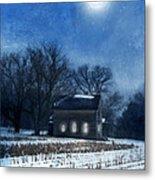 Farmhouse Under Full Moon In Winter Metal Print