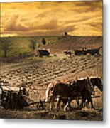 Farming Rain Race Metal Print