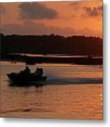Fast Boat Sunrise Metal Print