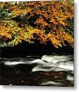 Fast Flowing Water And Fall Colours Metal Print