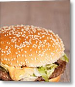 Fat Hamburger Sandwich Metal Print by Sabino Parente