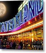 Faux Moon At The Staten Island Ferry Metal Print