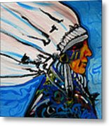 Feather Head Metal Print