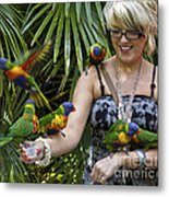 Feeding Rainbow Lorikeets Metal Print