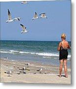 Feeding The Sea Gulls Metal Print