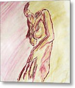 Female Nude Figure Sketch In Watercolor Purple Magenta And Yellow With A Warm Sunlit Background Metal Print