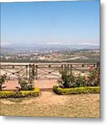 Fence And Garden Overlooking A Beautiful Vista Of Valley And Snow-capped Mountains Metal Print