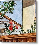Fence And Roses Sketchbook Project Down My Street Metal Print