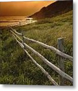 Fence And Sunset, Gooseberry Cove Metal Print
