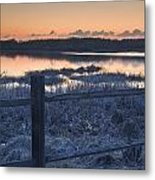 Fence By Lake At Sunset Metal Print