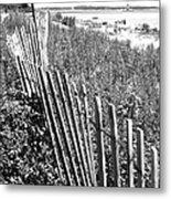Fence On The Beach Metal Print