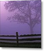 Fenceline Silhouette With Tree Metal Print