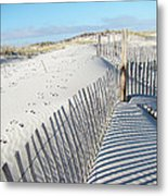 Fences Shadows And Sand Dunes Metal Print by Mother Nature