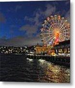 ferris wheel at night in Sydney Harbour Metal Print by Jacques Van Niekerk