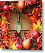 Festive Autumn Wreath Metal Print