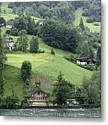 Few Houses On The Slope Of Mountain Next To Lake Lucerne Metal Print