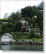 Few Houses On The Slope Of Mountain Next To Lake Lucerne In Switzerland Metal Print