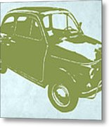 Fiat 500 Metal Print by Naxart Studio