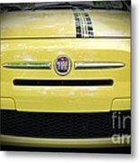 Fiat 500 Yellow With Racing Stripe Metal Print